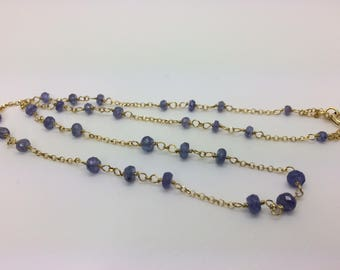 Tanzanite necklace, silver plated gold chain