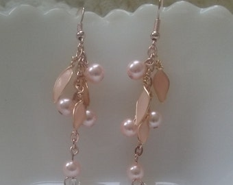 Rose gold and pink pearl dangle earrings-Rose gold ear wires (nickel free)-resin flower petels