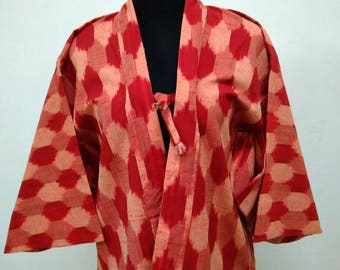 Japanese haori kimono red kimono jacket /kimono cardigan/kimono robe/#017