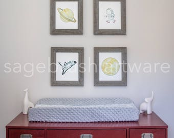 Space Nursery Art - Personalized Baby Art Gift -  Space Prints - Children's Art - Girls Room Decor, Boys Room Wall Art - Watercolor Prints