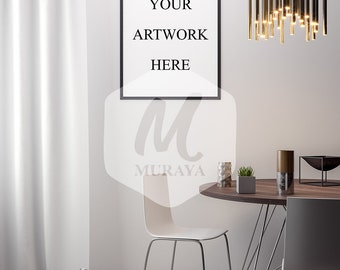 Living room frame mockup, Thin black frame, Styled Stock Photograpy, Classy Interior, PSD Mockup, Digital Item, Natural Lighting