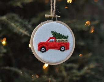 Farm Truck with Side Rails and Christmas Tree-Hand Embroidery Ornament-Farmhouse Christmas-Vintage Truck-Farm Fresh Trees-Christmas Ornament