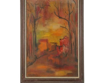 Original Oil Painting of an Abstracted Landscape Signed Wallach