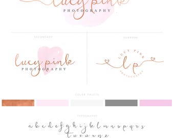 Rose Gold Premade Logo and Watermark with hearts, Rose Gold Photography logo, Rose Gold Branding 015