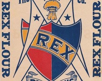 Antique REX Flour Label Kitchen Advertising Paper Ephemera