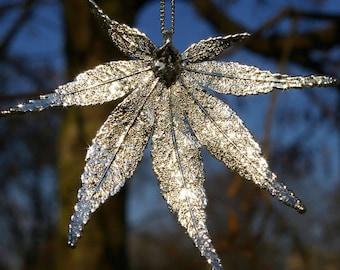 Silver pendant genuine Japanese Maple Leaf