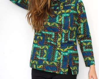 Vintage 70's green print blouse, 60s 1970s Button Up Shirt - Hippie Psychedelic groovy crazy pattern - long sleeve Top Tunic - Size M