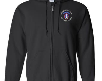 U.S. Army Honor Guard Embroidered Hooded Sweatshirt w/ Zipper-7648