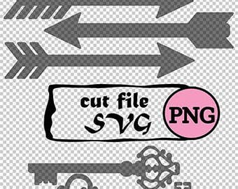 heart arrow key SVG and PNG download design for cricut or silhouette or any use