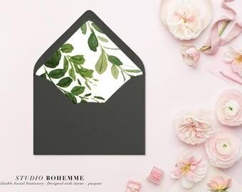 Printable Envelope Liner, Greenery Liner, Envelope Liners, Envelope Liner Template, DIY Envelope Liner, INSTANT DOWNLOAD, 7 Sizes - Alexa