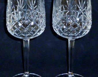 "2 EDINBURGH Crystal BERKELEY cut Large Wine Glasses Water Goblets 7"""