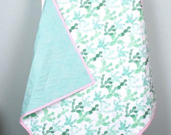 Cute Cacti Square Baby Quilt