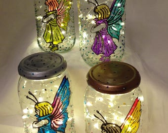 Repurposed faerie jar lamp