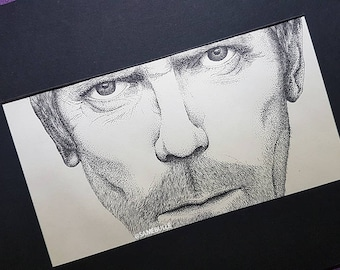 Portrait of Hugh Laurie, ink, ink 29.5x21cm