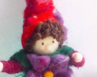 Handmade Needle Felted Flower Gnome!