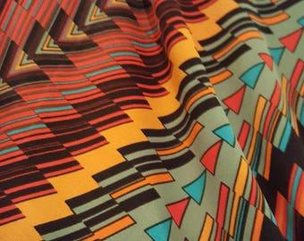 Multicolor triangles poly lycra fabric, one yard - stretch fabric - polyester spandex knit fabric - apparel fabric - Southwestern fabric