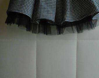 White and black checkered skirt with elegant black tulle petticoat