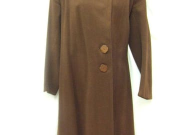Vintage 1940s Coat ~ Brown ~ Size 10 ~ Genuine ~ Wool