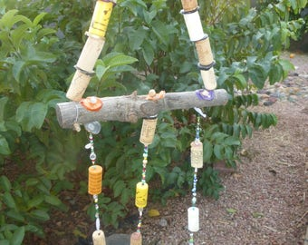 Bead, Wood & Wine Cork Sun catcher, patio decor