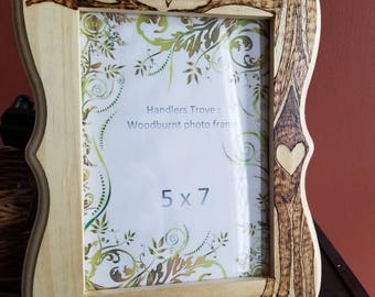 5x7, wooden photo frame, handmade,customized, Wedding Gifts, tree and heart, personalized