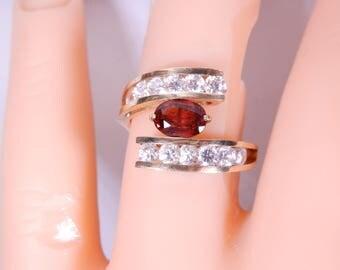 Garnet 14k Gold ring Size 6.75