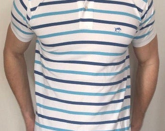 Mens s southern tide striped white and blue short sleeve polo