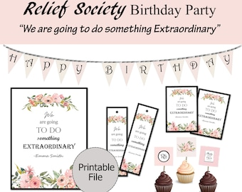 Relief Society Birthday Party Printable, LDS Relief Society, Emma Smith, Relief Society Birthday, RS Birthday Decorations