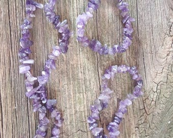Amethyst Nugget Necklace Natural Purple Chunk Beads, February Birthstone,