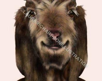 Goat, Illustration, Fine Art print, Giclee print, colour, artwork, A4 print