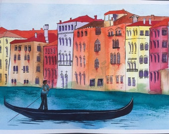 watercolor sketching Venice