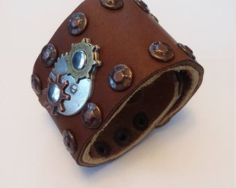 Leather Cuff Steampunk Bracelet