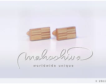 wooden cuff links wood alder maple handmade unique exclusive limited jewelry - mahoshiva k 2017-22