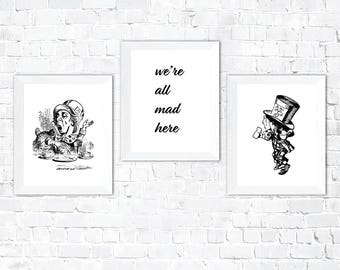 We're All Mad Here, Mad Hatter Wall Art, Cheshire Cat Quotes, Lewis Carroll Decor, Mad Hatter Party Hat, Lewis Carroll