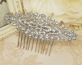 Rhinestone hair comb, silver hair comb, hair accessories, vintage hair comb, hair jewelry, bridal hair piece, wedding hairpiece