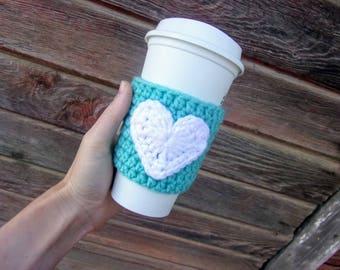 Crochet Coffee Cozy with Heart / Reusable Coffee Sleeve / Coffee Sleeve / Cup Cozy