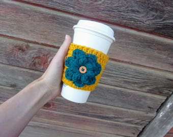 Crochet Coffee Cozy with Flower / Reusable Coffee Sleeve / Coffee Sleeve / Cup Cozy