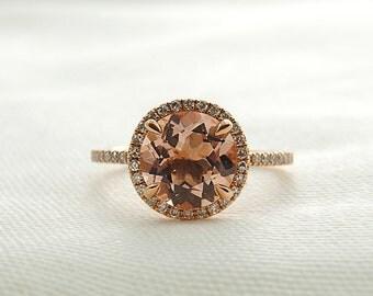 2ct Round Morganite & Diamond Engagement Ring in 14K Rose Gold - Morg1010