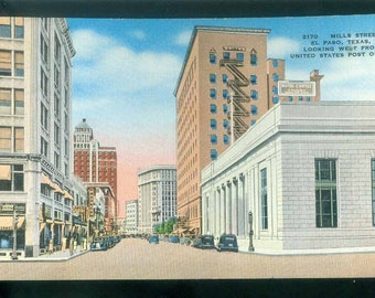Mills Street El Paso Texas Looking West from US Post Office Linen Photo Postcard