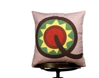 Funny bright color Cushions cover with letter Q, Yellow, Monogram cushion, Multi-Coloured, kids room pillows, nursery cushions