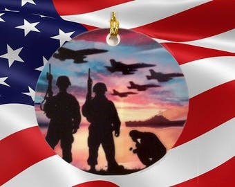 Military Personalized  Porcelain (Ceramic) ornament Double sided