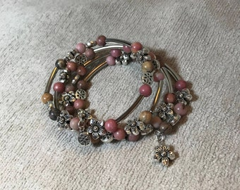 Pink Floral Memory Wire Bracelet