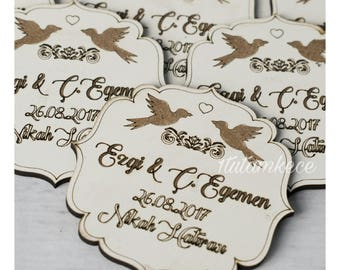 10 Wooden Bird  Magnet Wedding Favors - Laser Engraved Personalized Favors