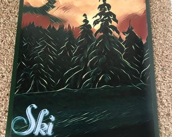 Ski Pacific Northwest Travel Poster
