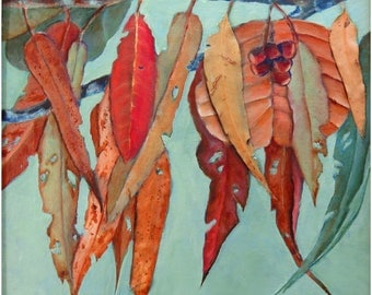 Abstract, awesome and unique original acrylic and oil mixed media painting embellished with real dried eucalyptus leaves