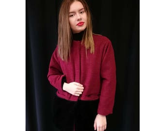 FREE SHIPPING Womens Bordeaux Coat with Black Fake Fur