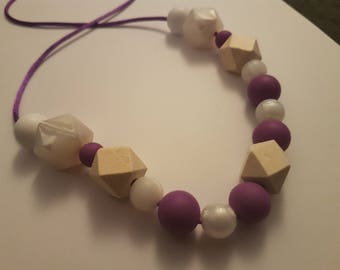 Purple and white nursing and Babywearing necklace