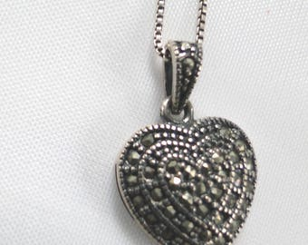 "925 Italy Sterling Silver 9"" Necklace and 1"" Marcasite Heart Shaped Valentine Pendant"