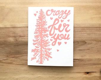 Douglas Fir Hand Printed Valentine's Card