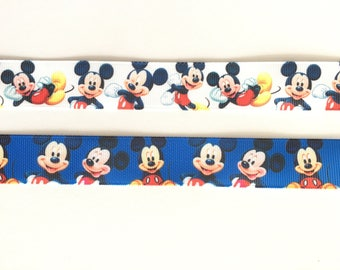 "Mickey Mouse 7/8"" 22 mm Grosgrain Ribbon for Hair Bows Scrapbooking Crafts Party Cake Birthday Decoration"