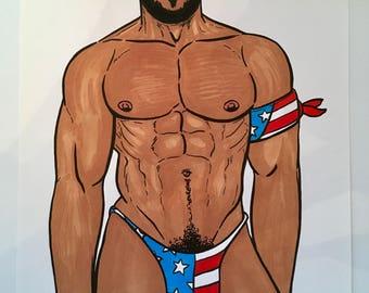 GAY MUSCLE ART GoGo Boy Jock Original Illustration Hot Sexy Male Drawing Beard Abs Big Pecs Lgbt - Pen, Ink, Markers